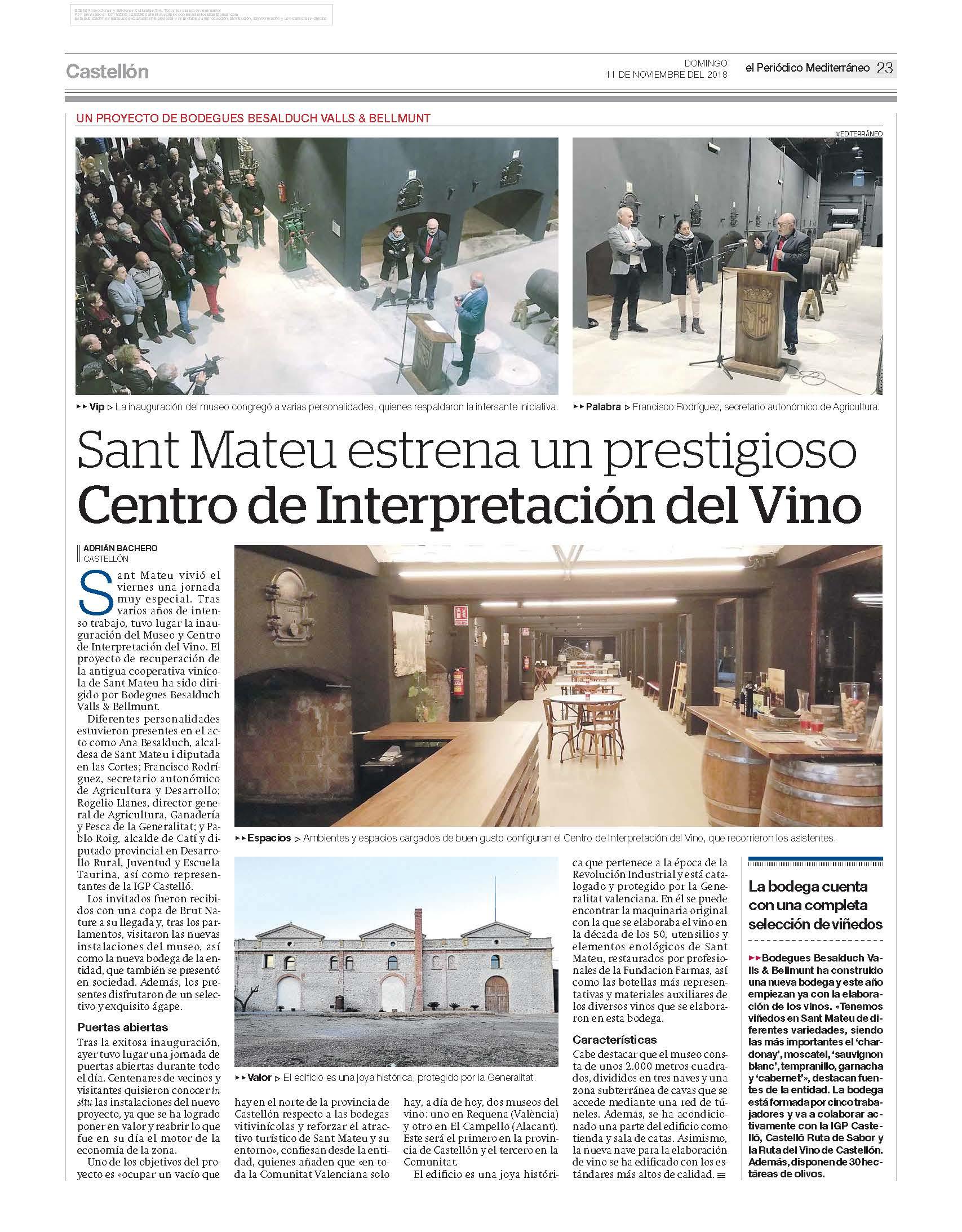 Sant Mateu estrena un prestigioso Centro de Interpretación del Vino