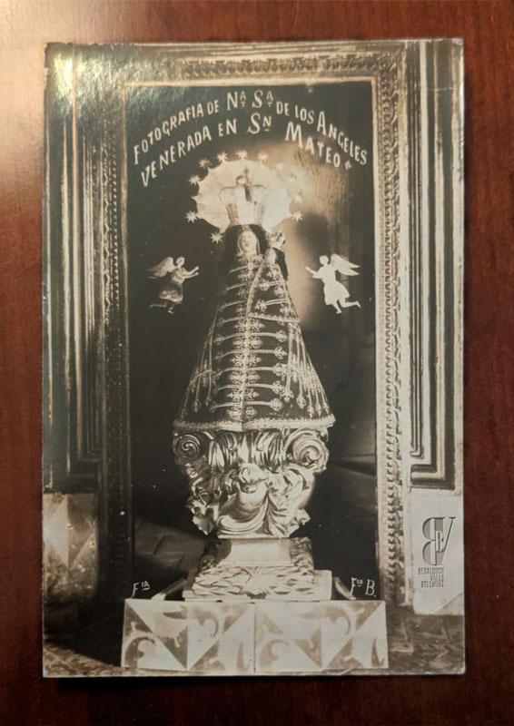 Postal original de finales del siglo XIX de la foto de la Virgen de los Ángeles de Sant Mateu
