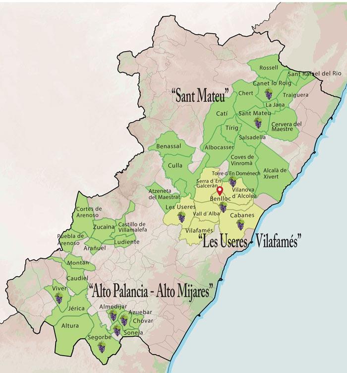 El mapa oficial vinícola de Castelló